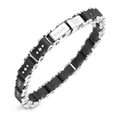 Men's Stainless Steel Bracelet, Medium Black Bicycle Bracelet
