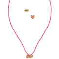RACHEL Rachel Roy Necklace and Earrings Set, Multi-Tone Pink Cord Glass Stone Necklace and Stud Earrings