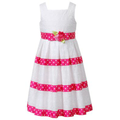 Sweet Heart Rose Kids Dress, Little Girls Eyelet Ribbon Dress
