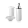 WS Bath Collections Complements White Porcelain Stainless Steel Accessory Set