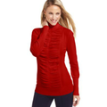 Alfani Petite Sweater, Long-Sleeve Ruched Turtleneck