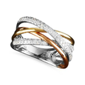 Trio by EFFY Collection Diamond Ring, 14k Gold, White Gold and Rose Gold Diamond Crossover Ring (3/8 ct. t.w.)
