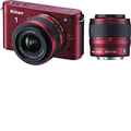 Nikon - J2 10.1-Megapixel Digital Compact System Camera with 10-30mm and 30-110mm Lenses - Red