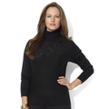Lauren Ralph Lauren Sweater, Long-Sleeve Beaded Silk Turtleneck