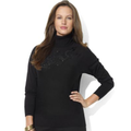 Lauren Ralph Lauren Plus Size Sweater, Dolma-Sleeve Beaded Dragon Turtleneck