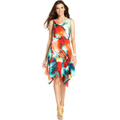 NY Collection Dress, Sleeveless Cowl-Neck Tropical-Print