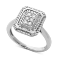 Diamond Ring, Sterling Silver Baguette and Round-Cut Diamond Ring (1/2 ct. t.w.)