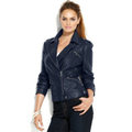 INC International Concepts Petite Jacket, Faux-Leather Classic Motorcycle