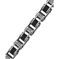 Men's Stainless Steel Bracelet, Black Resin Bicycle Chain Bracelet