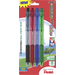 Pentel - Assorted Ink Retractable Ballpoint Pens (4-Pack) - Matte Black/Red/Blue/Green