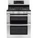 "LG - 30"" Self-Cleaning Freestanding Double Oven Gas Convection Range - Stainless-Steel"