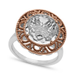 Town & Country Sterling Silver and 14k Rose Gold Ring, White Quartz Round Ring (4-1/2 ct. t.w.)